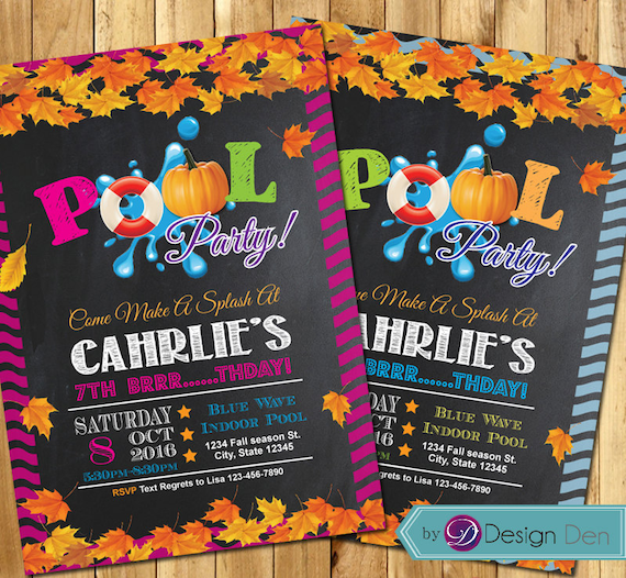 Fall Pool Party Invitations Halloween Pool Party Swim