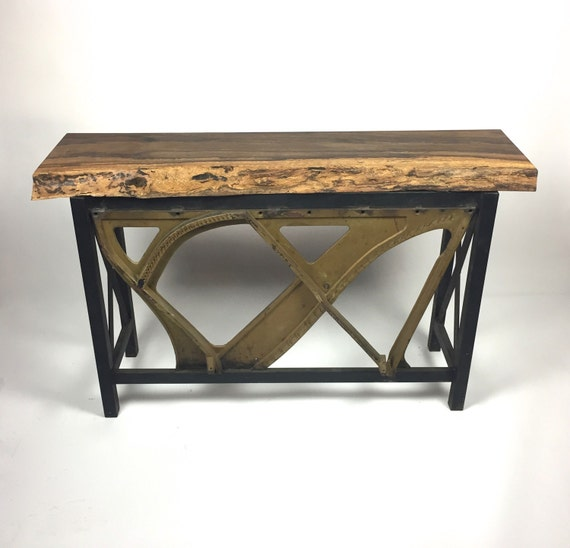 Live edge piano harp entry table buffet by