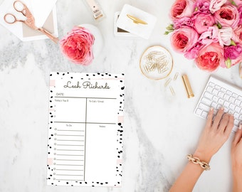 Personalized Black and White Polka Dot Day Planner Notepad