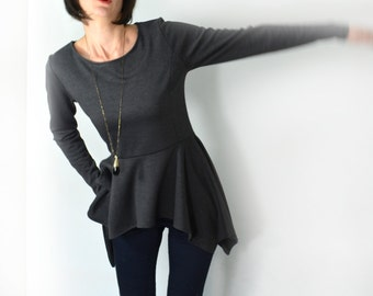 Peplum top/ long sleeve grey peplum blouse.
