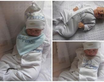 Newborn baby boy bling prince rhinestone hat bandanna bib sleepsuit mitts crystal rhinestones clothing set will fit newborn reborn doll