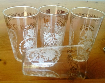 Four Vintage Federal Glass Drinking Glasses with Gold Decor