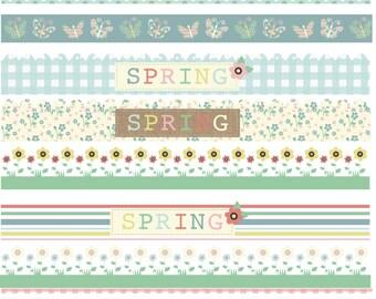 Springtime pastel borders, digital clip art set