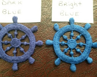 1 BLUE Ship Wheel Applique Sew On Patch 2.25 Inches Wide