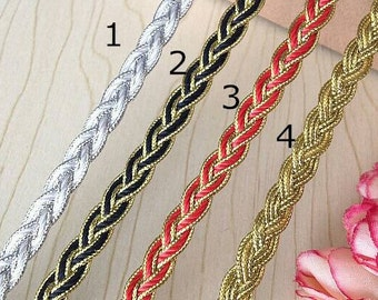 10 Yards Black Red and Gold Braided Cord Lace Trim 0.8cm Wide