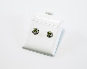 Flower Peridot Stud Earrings