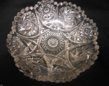 "Vintage EAPG Imperial Glass Nu-Cut Pattern 6 1/2"" Bowl Sawtooth Rim"