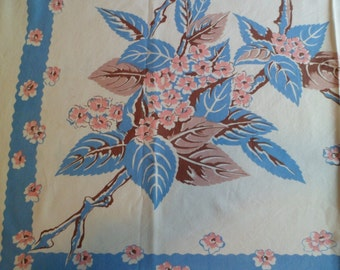 "Vintage 1930's/40s Vicray K&B Hand Prints Tablecloth ""Leaf"" Apple Blossoms with Paper Label"