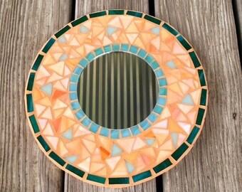 Stained Glass Mosaic Mirror/Round Mirror/Peach Colors/Mosaic Wall Mirror/ Mosaic Mirror