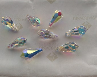 14 pieces Swarovski #6000 13x6.5mm Crystal AB Teardrop Faceted Pendant Beads