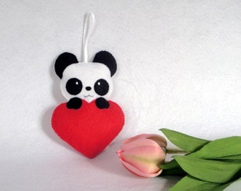 Panda ornament, valentine's day, panda bear ornament, valentines gift, felt ornaments, gift women, panda gifts, kawaii, panda, felt heart