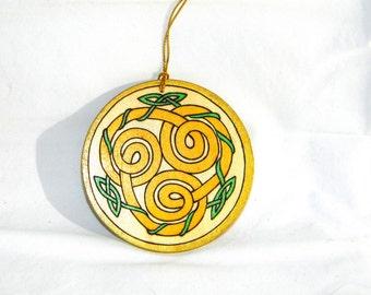 Ornament - Celtic Spirals Yellow