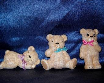 Set of 3 Ceramic Bear Magnets - Group 1 - Teddy Bear Magnets - Ceramic Bears - Ceramic Bear Magnets