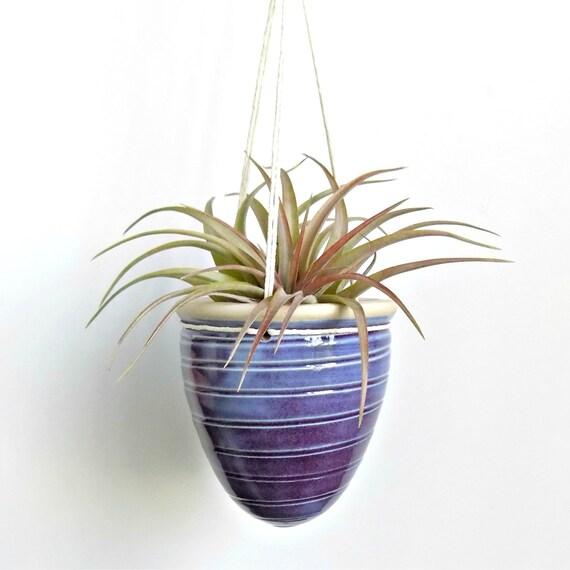 petite ceramic hanging planter purple pottery planter. Black Bedroom Furniture Sets. Home Design Ideas