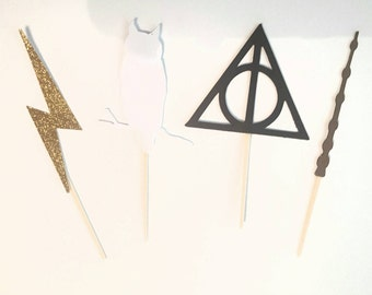 Harry Potter cupcake toppers 12 pc wand hedwig white owl glitter lightning bolt deathly hallows