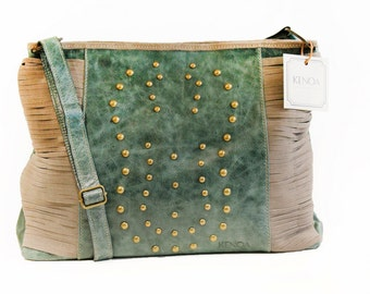 Shoulder and cross body leather bag . Leather bag women - bags and purses-leather purse, green bag - green leather purse, green leather bag