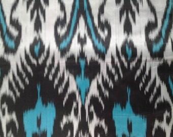 Uzbek Silk Ikat Fabric Adras-Pattern-handwoven-exotic silks-silk boheme-fabric supply-turquoise-black-white-sewing