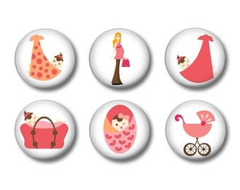 Baby Girl Set of 6 Magnets 1 Inch (2.5cm)