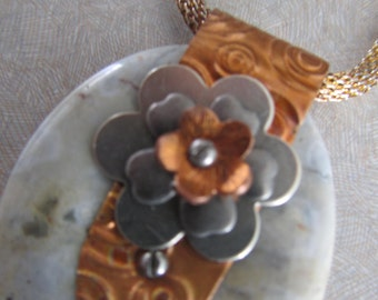 Jasper & Copper Pendant, Handmade Gemstone and Metal Jewelry, Cold Connection Necklace, Mixed Metal Jewelry, Copper Flower and Stone Pendant
