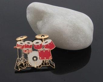 Drum Kit  Pin Badge - 7 Piece Kit