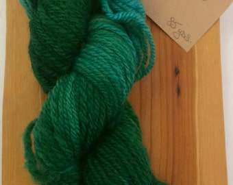 Hand Dyed Hand spun Teal and Emerald