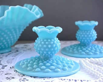 Fenton Candlestick Holders PAIR, Turquoise Milk Glass Hobnail Candlesticks, Turquoise Blue Candle Holders, Fenton Hobnail Milk Glass, 1950s