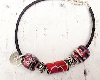 Paper Bead Bracelet - Sterling Silver Bead Bracelet - Leather bead bracelet - Gift for her - Paper and Silver Bead Bracelet