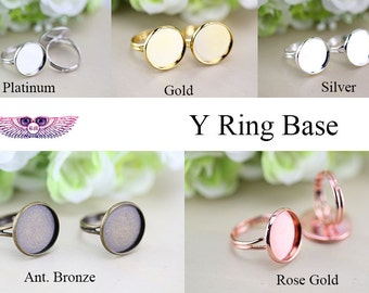 20mm Round Y Bezel Ring Blanks - Brass Ring Settings - Brass Ring Base - Adjustable Ring Bezel - Plain Ring Settings