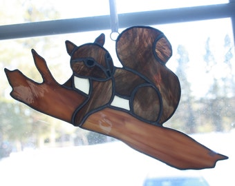 Squirrel Stained Glass Suncatcher