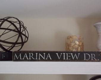 Custom-made Distressed Wood Sign, Street Address Sign, Made-to-Order