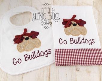Girly Mississippi State bib and burp cloth set, Baby Boy MSU gift set, Bulldog Bib and Burp Cloth gift set, Mississippi State Baby Gift Set