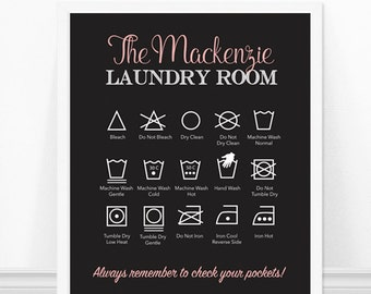 Personalized Laundry Print, Laundry Room Art, Laundry Symbols Art Print, Laundry Instructions, Laundry Room Decor