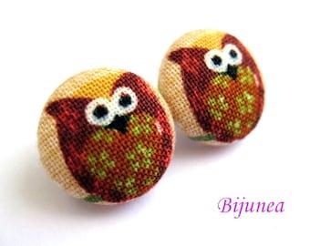 Owl earrings - Brown owl earrings - Owl studs - Owl stud earrings - Owl posts - Owl post earrings sf208