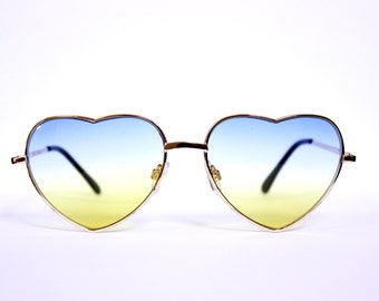Heart Shape Women's Sunglasses Two Tone Ombre Gradient Blue Yellow Aviator Classic Vintage Gold Metal Frame H3