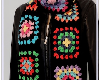 Scarf , Granny Square Scarf , Crochet scarf , Retro Colorful Chunky Scarf , Gift for her , Multicolor Scarf