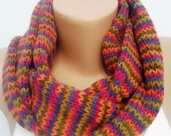 Knit Infinity Scarf , Colorful Circle Scarf , Neck Warmer , Gift for Her , Gift for His