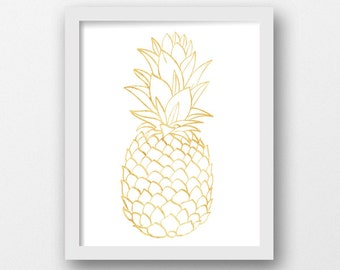 Pineapple Nursery Art, Watercolor Pineapple, Nursery Prints, Yellow Pineapple, Baby Gift, Baby Shower, Nursery Decor, Tropical Art (1014b)