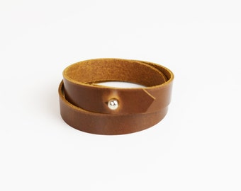 Leather bracelet, leather wrap bracelet, leather wrap, minimal leather wrap bracelet, tan leather wrap bracelet, leather jewelry