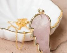 40% OFF sale Rose Quartz Wing Necklace - Angel Wing Necklace - Friendship Necklace - Open Heart Chakra - Fertility Necklace - TTC - Best Sel