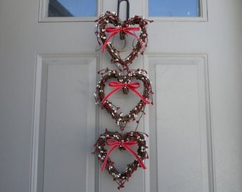 Valentine, 3 grapevine heart, red and white pip berries wreath/wall decor