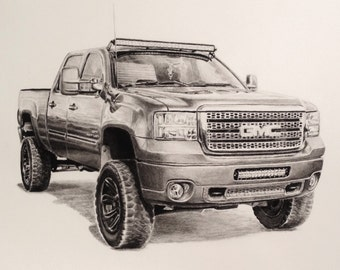 Custom charcoal 11 x 14 inch drawing of truck/car from photo, auto art, handmade original, charcoal pencil drawing, vehicle drawing