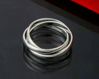 Classic Silver plated Tri 3 Band ring