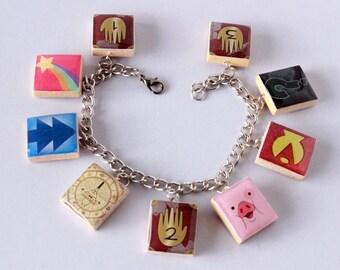 Gravity Falls Inspired Scrabble Tile Charm Bracelet