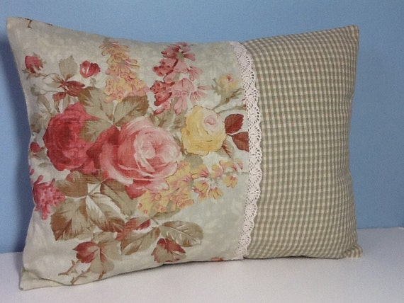 Ralph Lauren rose throw pillow cover. Shabby cottage chic.