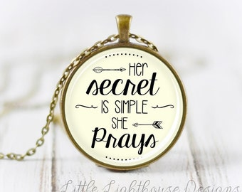 Large She Prays Necklace Quote Necklace Quote Pendant Verse Necklace Christian Pendant Christian Jewelry Gift