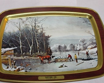 One Vintage Tray for Decoration or Use, with Painting on the Front, Wood Grain ? Getting Ice, Rectangle, Currier & Ives, Americana, NICE