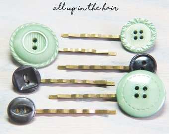 Button Bobby Pin Set - Hair Pin Set - Green Bobby Pins - Black Bobby Pins - Green Button Bobby Pins - Black Button Bobby Pins