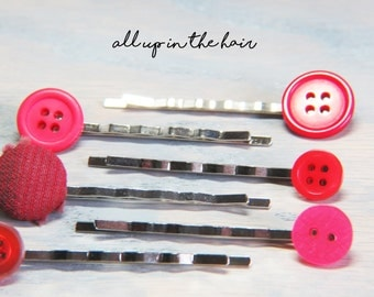 Button Bobby Pins -Red Button Bobby Pins - Bobby Pin Set - Christmas Gift - Stocking Stuffer