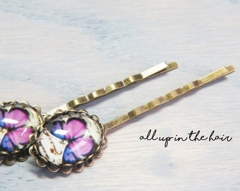 Butterfly Bobby Pins - Purple Butterfly Bobby Pins