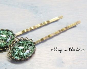 Glow In The Dark Bobby Pins - Swirl Bobby Pins - Bronze Bobby Pins - Glow In The Dark Accessories - Glow In The Dark Flowers